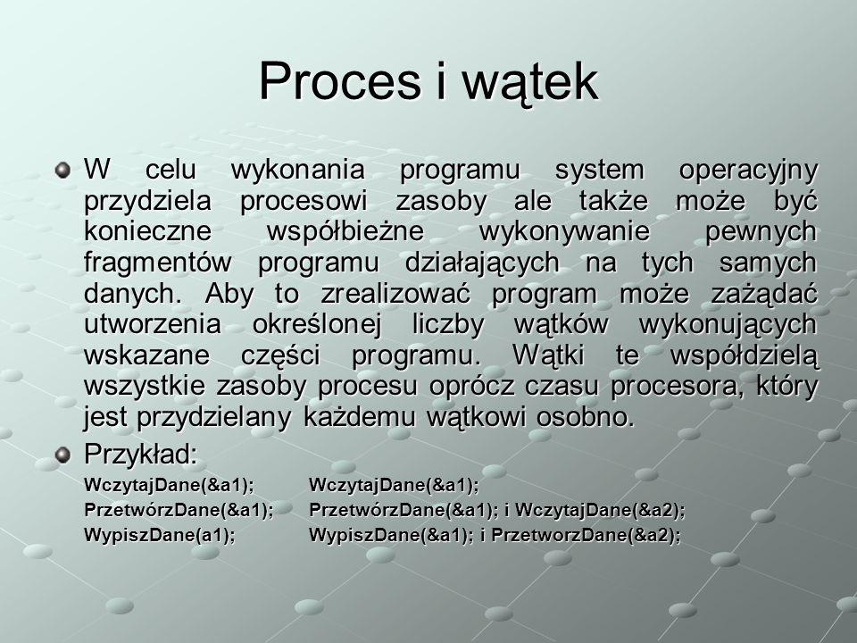 Proces i wątek W celu wykonania programu system operacyjny przydziela procesowi zasoby ale także może być konieczne współbieżne wykonywanie pewnych fragmentów programu działających na tych samych danych.