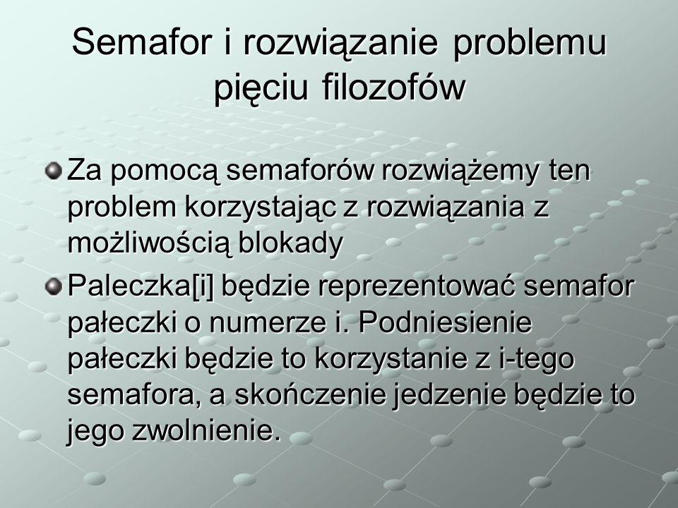 Semafor i rozwiązanie problemu pięciu filozofów Za pomocą semaforów rozwiążemy ten problem korzystając z rozwiązania z możliwością blokady Paleczka[i] będzie reprezentować semafor pałeczki o numerze i.