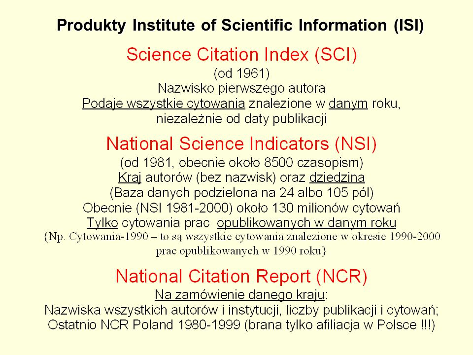 Produkty Institute of Scientific Information (ISI)