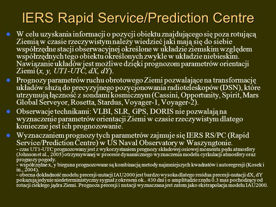 IERS Rapid Service/Prediction Centre W celu uzyskania informacji o pozycji obiektu znajdującego się poza rotującą Ziemią w czasie rzeczywistym należy wiedzieć jaki mają się do siebie współrzędne stacji obserwacyjnej określone w układzie ziemskim względem współrzędnych tego obiektu określonych zwykle w układzie niebieskim.
