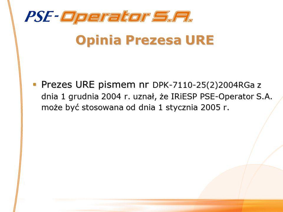 Opinia Prezesa URE  Prezes URE pismem nr DPK-7110-25(2)2004RGa z dnia 1 grudnia 2004 r. uznał, że IRiESP PSE-Operator S.A. może być stosowana od dnia