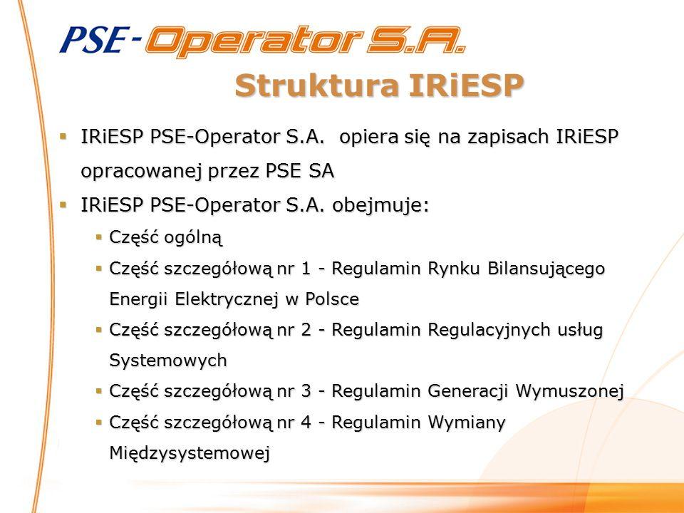Struktura IRiESP  IRiESP PSE-Operator S.A. opiera się na zapisach IRiESP opracowanej przez PSE SA  IRiESP PSE-Operator S.A. obejmuje:  Część ogólną