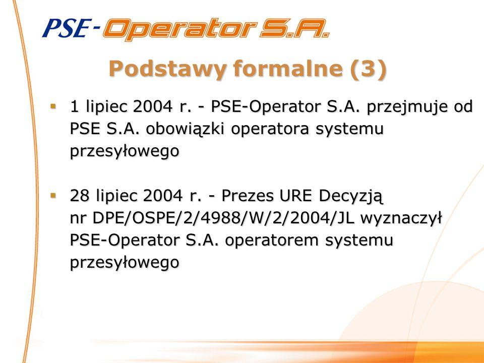 Podstawy formalne (3)  1 lipiec 2004 r. - PSE-Operator S.A. przejmuje od PSE S.A. obowiązki operatora systemu przesyłowego  28 lipiec 2004 r. - Prez