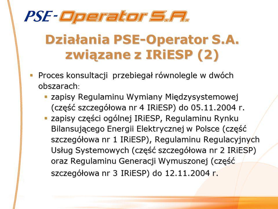 Działania PSE-Operator S.A. związane z IRiESP (2)  Proces konsultacji przebiegał równolegle w dwóch obszarach :  zapisy Regulaminu Wymiany Międzysys