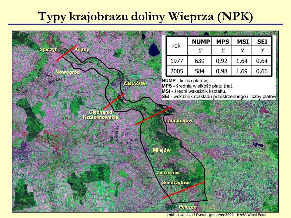 źródło: Landsat 7 Pseudo geocover 2000 – NASA World Wind Łęczna Typy krajobrazu doliny Wieprza (NPK) Łańcuchów Siostrzytów Jaszczów Milejów CiechankiKrzesimowskie Pełczyn Nowogród KijanySpiczyn