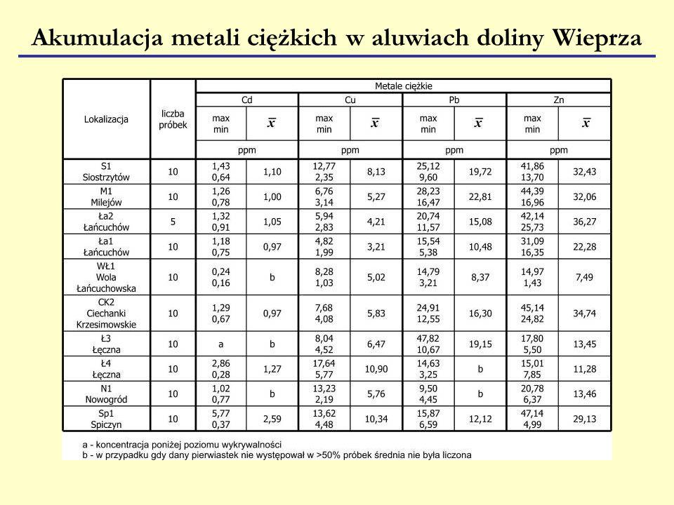 Akumulacja metali ciężkich w aluwiach doliny Wieprza