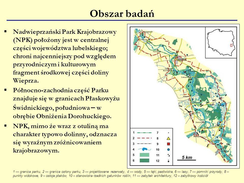 Obszar badań  Nadwieprzański Park Krajobrazowy (NPK) położony jest w centralnej części województwa lubelskiego; chroni najcenniejszy pod względem przyrodniczym i kulturowym fragment środkowej części doliny Wieprza.
