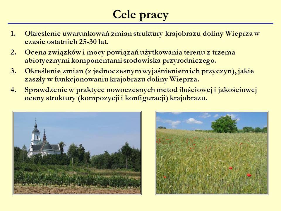 Cele pracy 1.Określenie uwarunkowań zmian struktury krajobrazu doliny Wieprza w czasie ostatnich 25-30 lat.