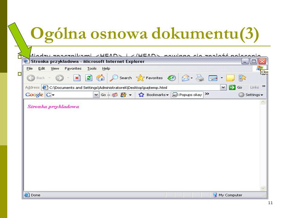 11 Ogólna osnowa dokumentu(3)  Między znacznikami i powinno się znaleźć polecenie  TITLE nie oznacza tytułu na stronie. Zawarta między tymi znacznik