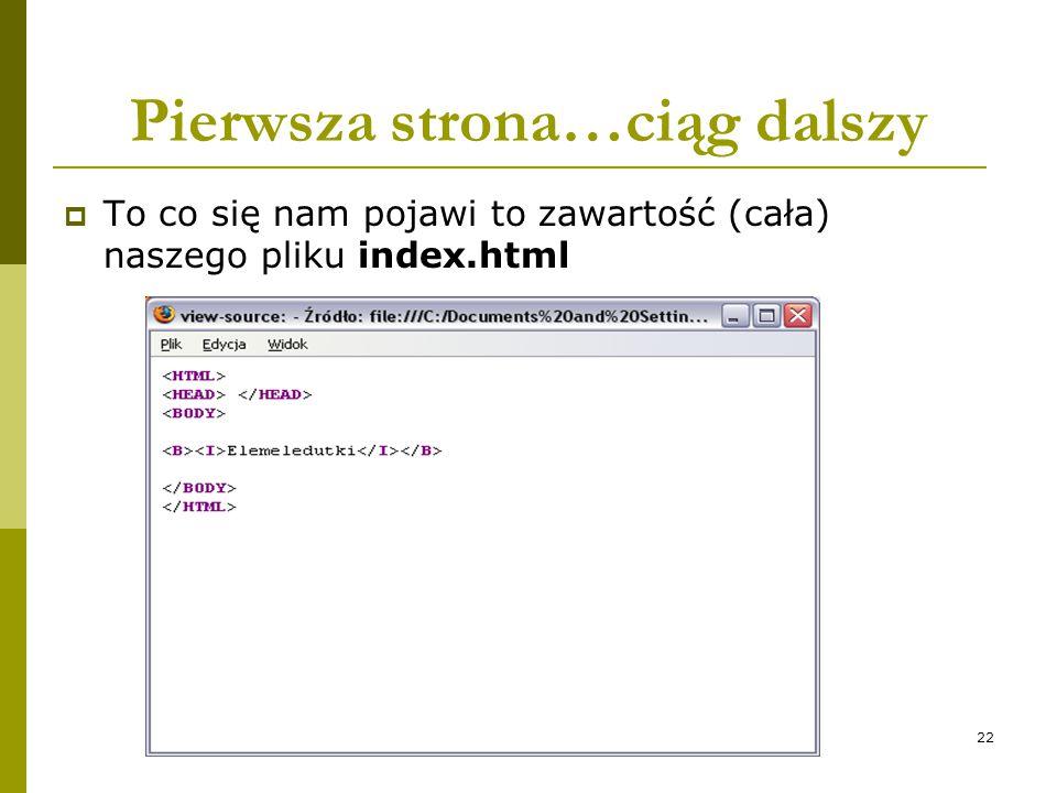 22 Pierwsza strona…ciąg dalszy  To co się nam pojawi to zawartość (cała) naszego pliku index.html
