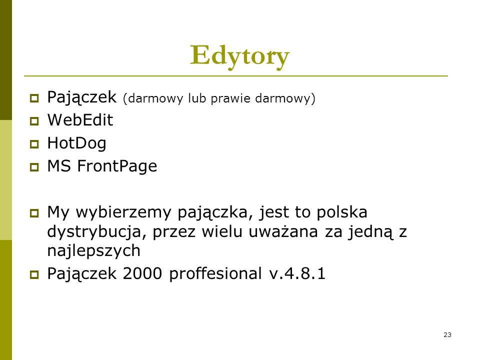 23 Edytory  Pajączek (darmowy lub prawie darmowy)  WebEdit  HotDog  MS FrontPage  My wybierzemy pajączka, jest to polska dystrybucja, przez wielu