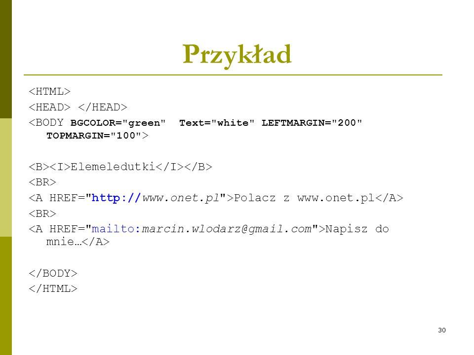 30 Przykład Elemeledutki Polacz z www.onet.pl Napisz do mnie…