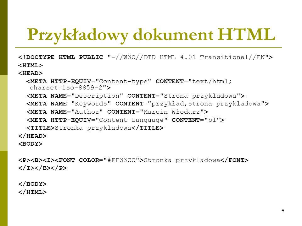 4 Przykładowy dokument HTML Stronka przykladowa Stronka przykladowa