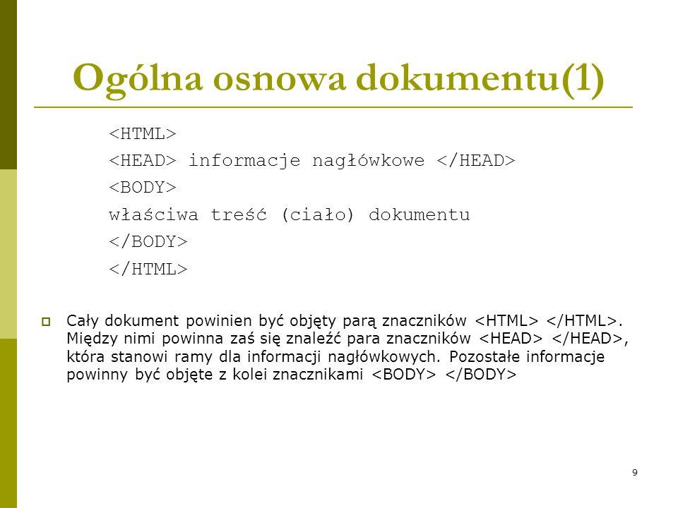 9 Ogólna osnowa dokumentu(1) informacje nagłówkowe właściwa treść (ciało) dokumentu  Cały dokument powinien być objęty parą znaczników. Między nimi p