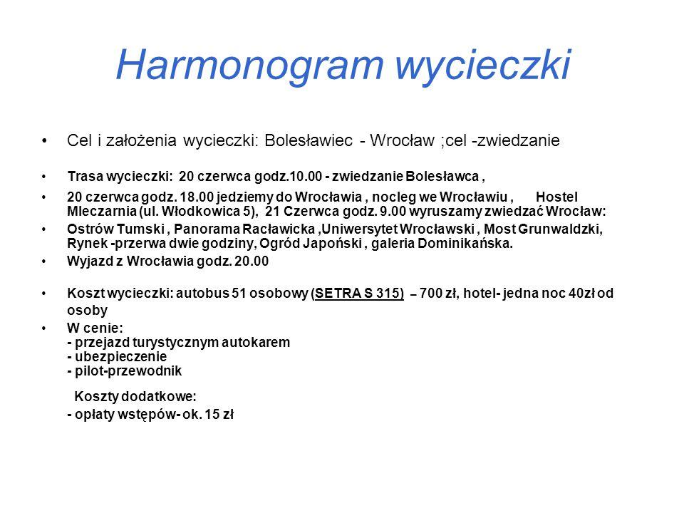 Harmonogram wycieczki Cel i założenia wycieczki: Bolesławiec - Wrocław ;cel -zwiedzanie Trasa wycieczki: 20 czerwca godz.10.00 - zwiedzanie Bolesławca, 20 czerwca godz.