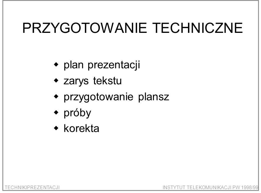 TECHNIKIPREZENTACJIINSTYTUT TELEKOMUNIKACJI PW 1998/99 PRZYGOTOWANIE TECHNICZNE  plan prezentacji  zarys tekstu  przygotowanie plansz  próby  kor