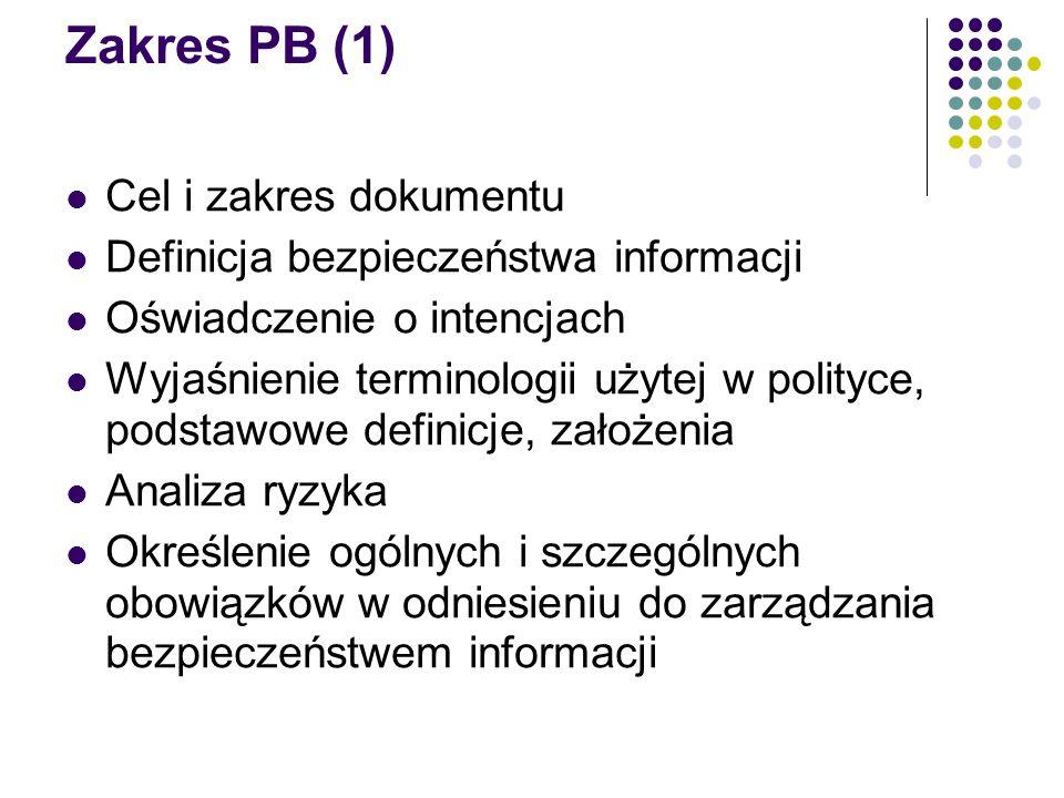 Zakres PB (1) Cel i zakres dokumentu Definicja bezpieczeństwa informacji Oświadczenie o intencjach Wyjaśnienie terminologii użytej w polityce, podstaw