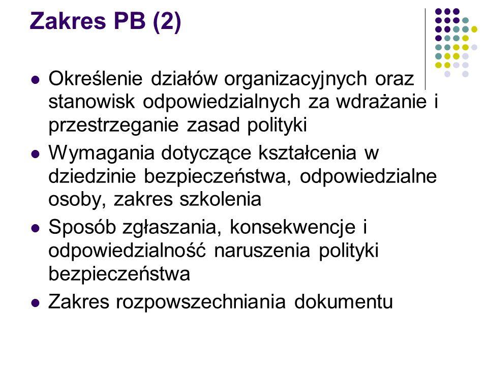 Zakres PB (2) Określenie działów organizacyjnych oraz stanowisk odpowiedzialnych za wdrażanie i przestrzeganie zasad polityki Wymagania dotyczące kszt