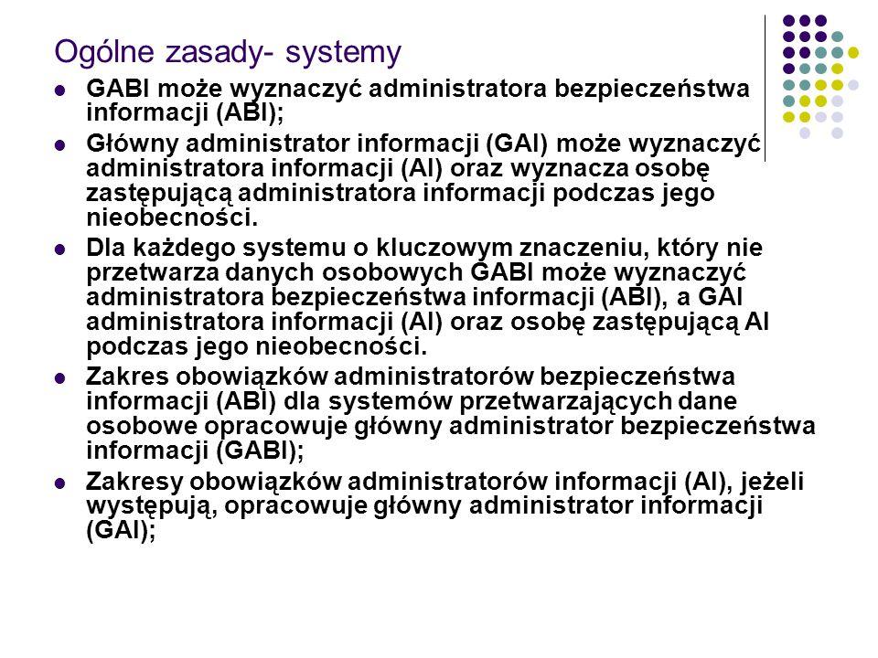 Ogólne zasady- systemy GABI może wyznaczyć administratora bezpieczeństwa informacji (ABI); Główny administrator informacji (GAI) może wyznaczyć admini