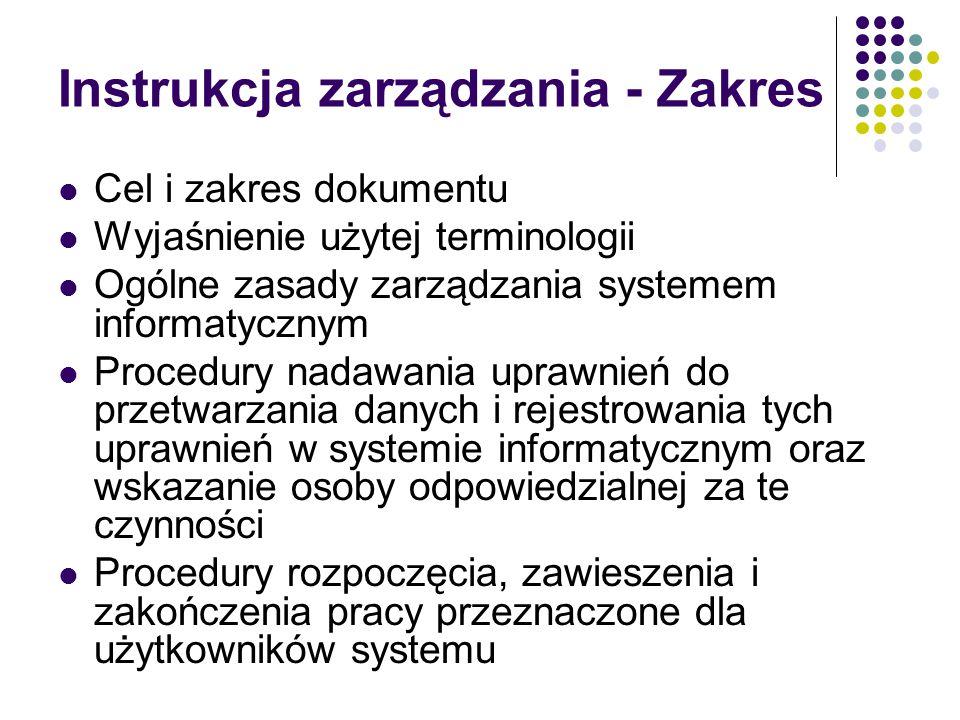 Instrukcja zarządzania - Zakres Cel i zakres dokumentu Wyjaśnienie użytej terminologii Ogólne zasady zarządzania systemem informatycznym Procedury nad