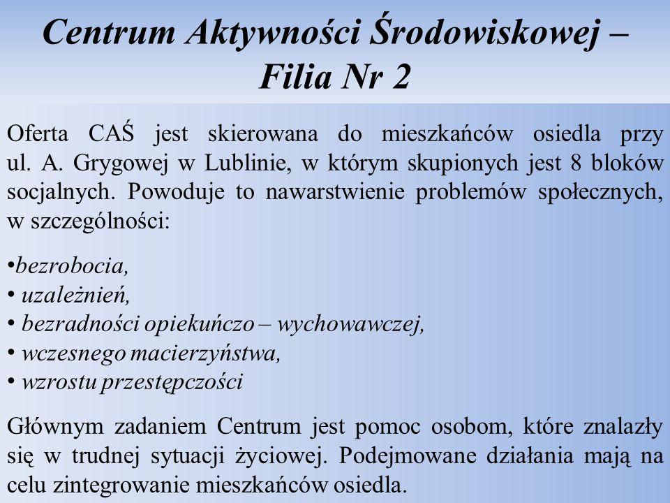 Centrum Aktywności Środowiskowej – Filia Nr 2 Oferta CAŚ jest skierowana do mieszkańców osiedla przy ul. A. Grygowej w Lublinie, w którym skupionych j