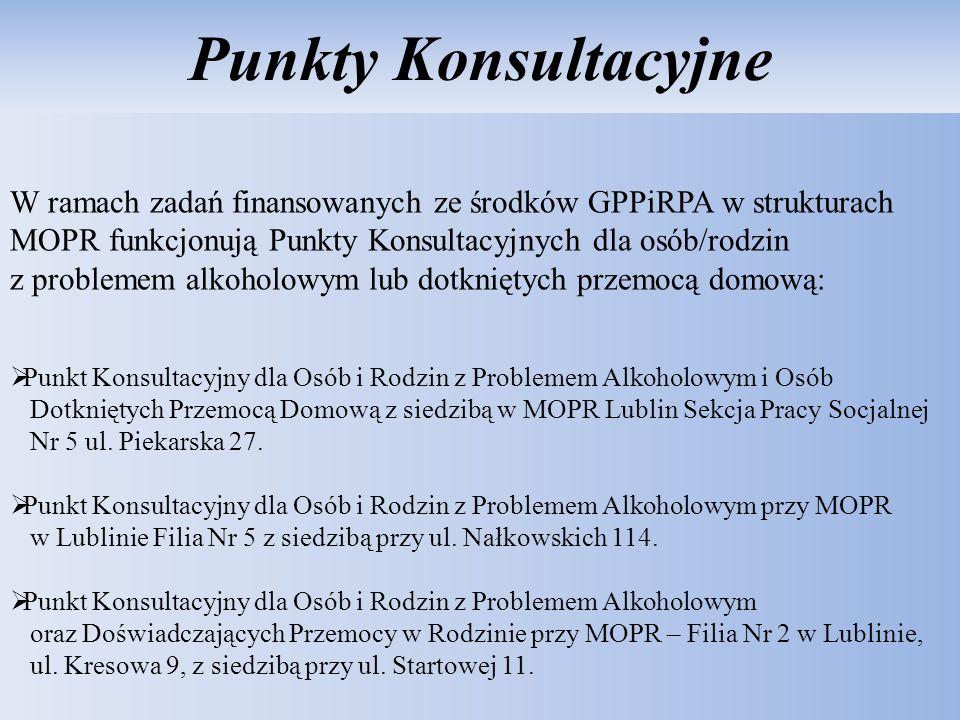 Punkty Konsultacyjne W ramach zadań finansowanych ze środków GPPiRPA w strukturach MOPR funkcjonują Punkty Konsultacyjnych dla osób/rodzin z problemem