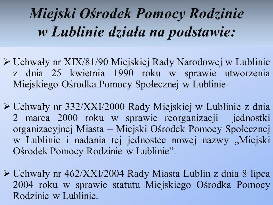 Miejski Ośrodek Pomocy Rodzinie w Lublinie działa na podstawie:  Uchwały nr XIX/81/90 Miejskiej Rady Narodowej w Lublinie z dnia 25 kwietnia 1990 rok