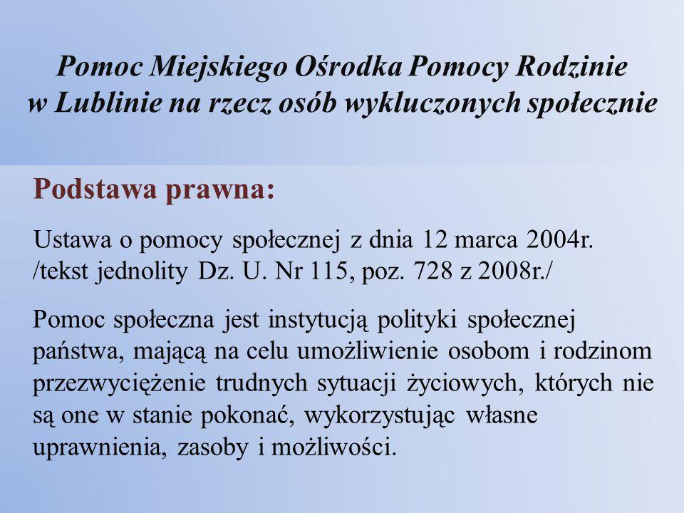 Pomoc Miejskiego Ośrodka Pomocy Rodzinie w Lublinie na rzecz osób wykluczonych społecznie Podstawa prawna: Ustawa o pomocy społecznej z dnia 12 marca
