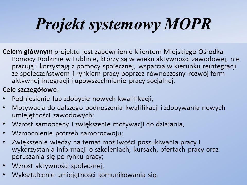 Projekt systemowy MOPR Celem głównym projektu jest zapewnienie klientom Miejskiego Ośrodka Pomocy Rodzinie w Lublinie, którzy są w wieku aktywności za