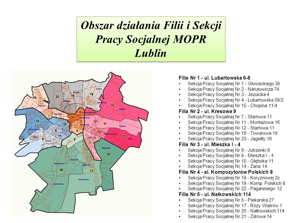 Obszar działania Filii i Sekcji Pracy Socjalnej MOPR Lublin Filia Nr 1 - ul. Lubartowska 6-8 Sekcja Pracy Socjalnej Nr 1 - Głowackiego 35 Sekcja Pracy