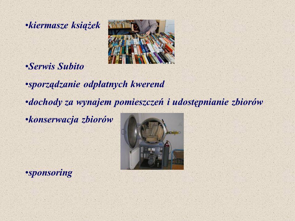 kiermasze książek Serwis Subito sporządzanie odpłatnych kwerend dochody za wynajem pomieszczeń i udostępnianie zbiorów konserwacja zbiorów sponsoring