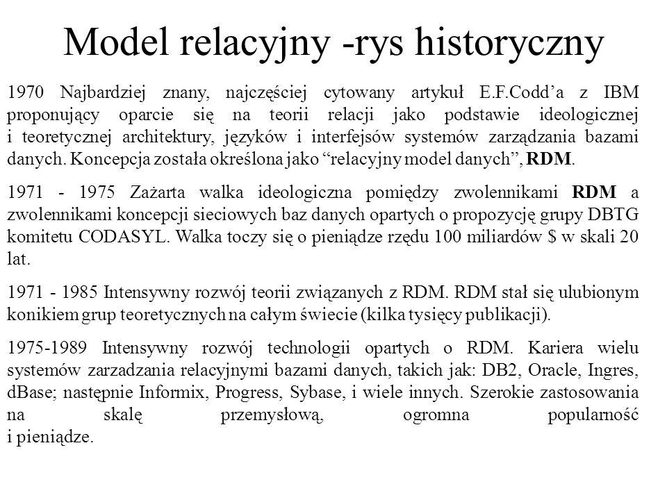 Relacyjny model danych twórca E.F.Codd (1970) terminologia matematyczna – baza danych to zbiór relacji relacja jest reprezentowana przez tablicę (kolumny i wiersze) –np.