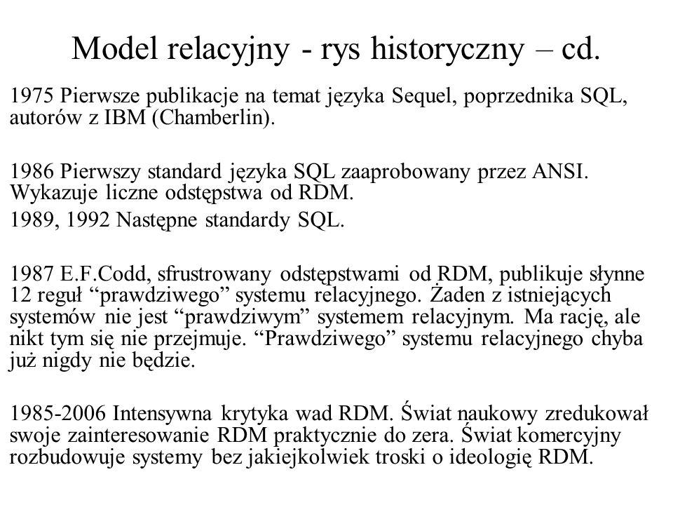 Model relacyjny -rys historyczny 1970 Najbardziej znany, najczęściej cytowany artykuł E.F.Codd'a z IBM proponujący oparcie się na teorii relacji jako podstawie ideologicznej i teoretycznej architektury, języków i interfejsów systemów zarządzania bazami danych.