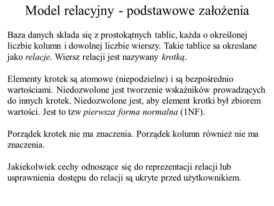Model relacyjny - rys historyczny – cd.