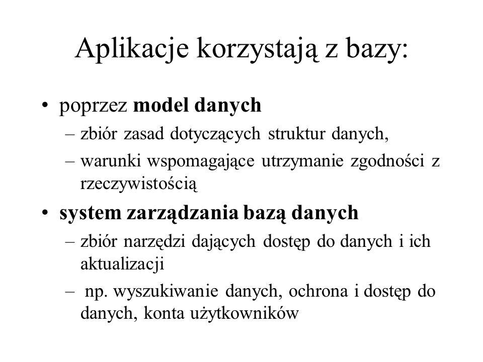 Budując bazę, bierzemy pod uwagę: jeden system (model) reprezentacji danych np.