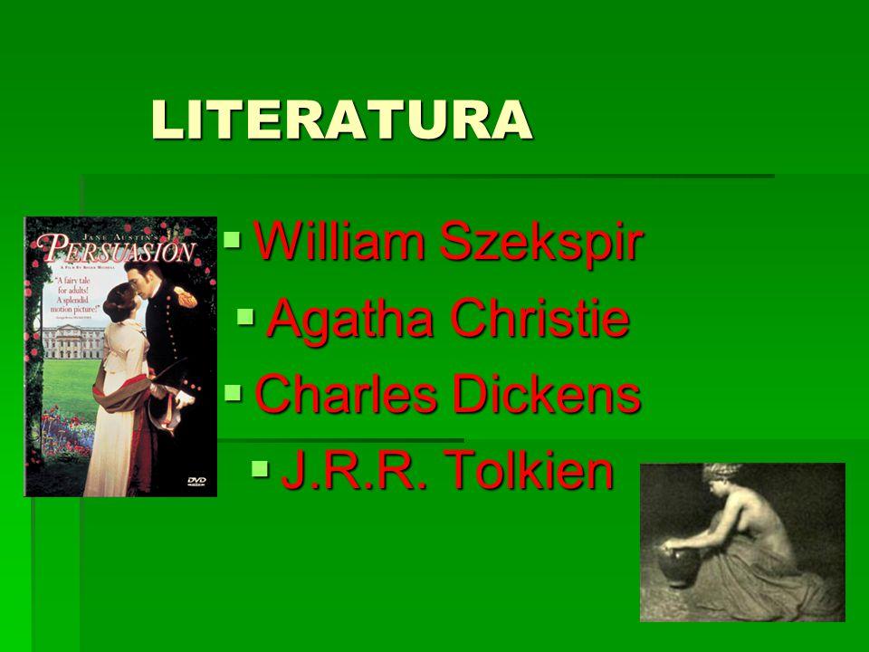 LITERATURA  William Szekspir  Agatha Christie  Charles Dickens  J.R.R. Tolkien