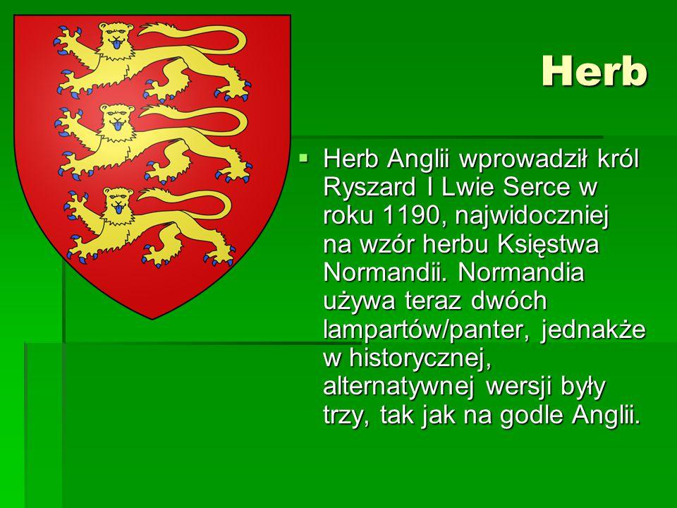 Herb  Herb Anglii wprowadził król Ryszard I Lwie Serce w roku 1190, najwidoczniej na wzór herbu Księstwa Normandii. Normandia używa teraz dwóch lampa