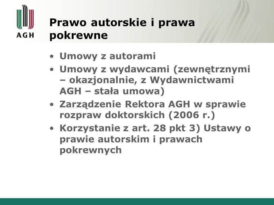 Prawo autorskie i prawa pokrewne Umowy z autorami Umowy z wydawcami (zewnętrznymi – okazjonalnie, z Wydawnictwami AGH – stała umowa) Zarządzenie Rektora AGH w sprawie rozpraw doktorskich (2006 r.) Korzystanie z art.