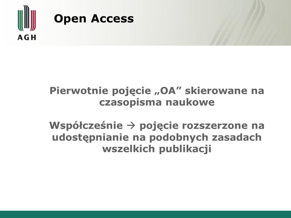 """Open Access Pierwotnie pojęcie """"OA skierowane na czasopisma naukowe Współcześnie  pojęcie rozszerzone na udostępnianie na podobnych zasadach wszelkich publikacji"""