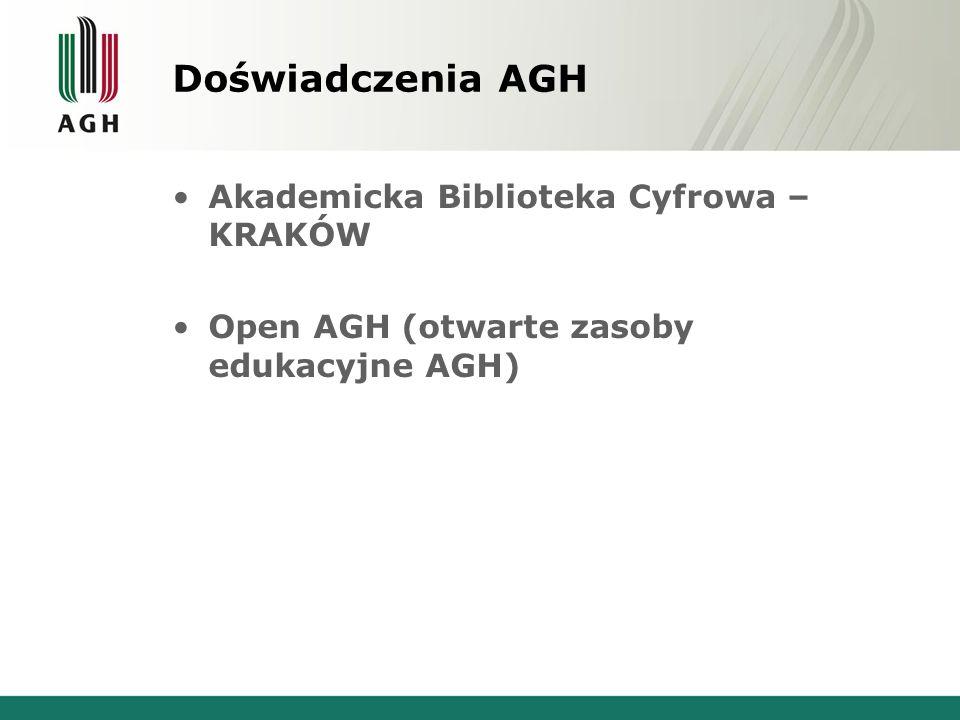 Doświadczenia AGH Akademicka Biblioteka Cyfrowa – KRAKÓW Open AGH (otwarte zasoby edukacyjne AGH)