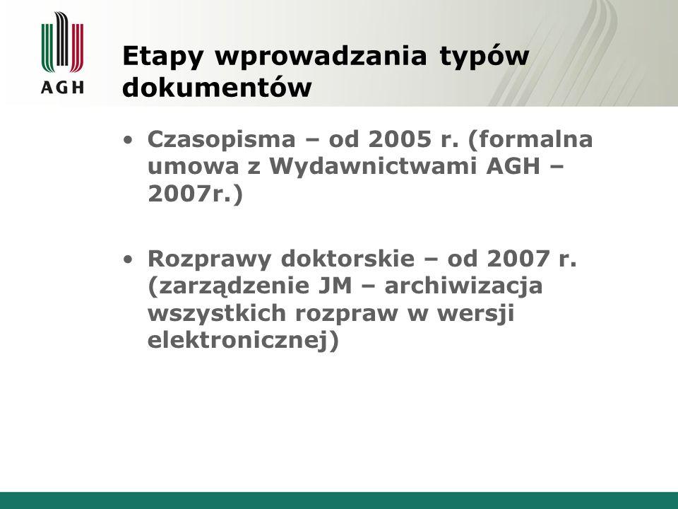 Obecnie ABC-KRAKÓW obejmuje TEKSTY WSPÓŁCZESNE (OD 1946 ROKU) uczelniane czasopisma naukowe materiały konferencyjne multimedialne katalogi wystaw rozprawy doktorskie skrypty uczelniane monografie i raporty naukowe opisy patentowe (AGH)