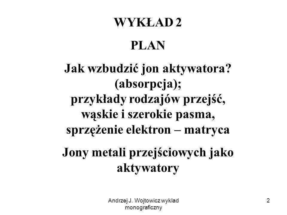 Andrzej J. Wojtowicz wyklad monograficzny 2 WYKŁAD 2 PLAN Jak wzbudzić jon aktywatora.