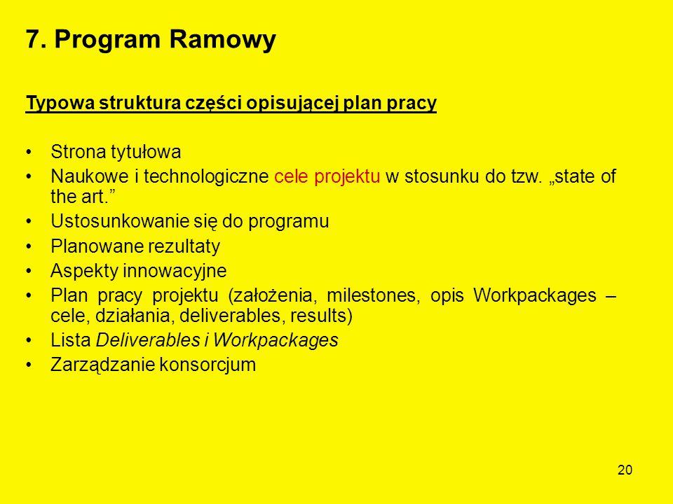 20 Typowa struktura części opisującej plan pracy Strona tytułowa Naukowe i technologiczne cele projektu w stosunku do tzw.