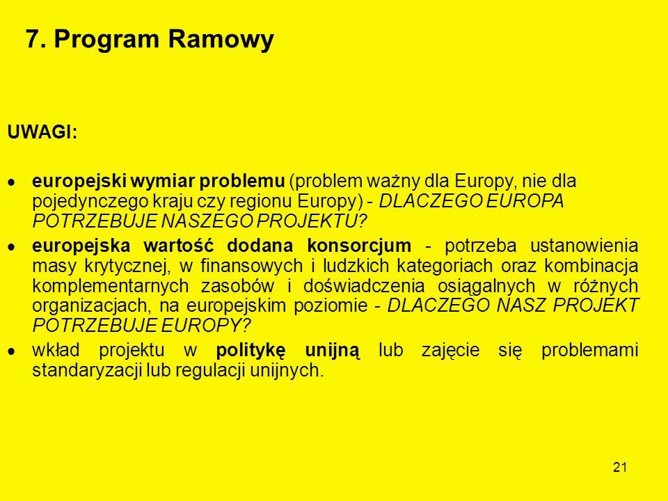 21 UWAGI:  europejski wymiar problemu (problem ważny dla Europy, nie dla pojedynczego kraju czy regionu Europy) - DLACZEGO EUROPA POTRZEBUJE NASZEGO PROJEKTU.
