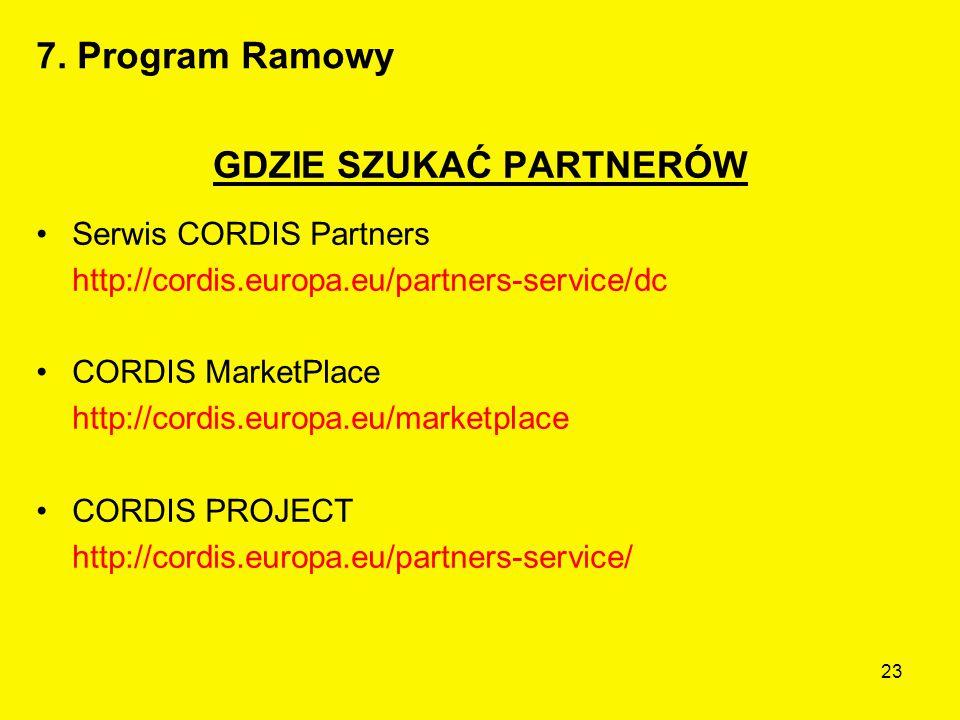 23 GDZIE SZUKAĆ PARTNERÓW Serwis CORDIS Partners http://cordis.europa.eu/partners-service/dc CORDIS MarketPlace http://cordis.europa.eu/marketplace CORDIS PROJECT http://cordis.europa.eu/partners-service/ 7.
