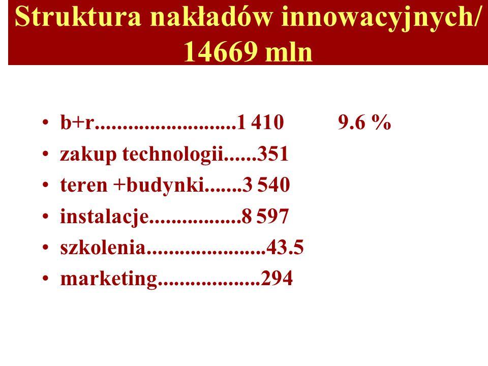 Struktura nakładów innowacyjnych/ 14669 mln b+r..........................1 410 9.6 % zakup technologii......351 teren +budynki.......3 540 instalacje.................8 597 szkolenia......................43.5 marketing...................294
