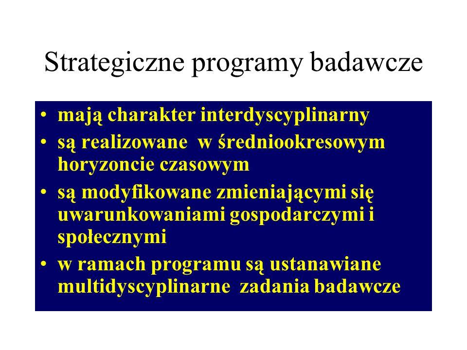 Strategiczne programy badawcze mają charakter interdyscyplinarny są realizowane w średniookresowym horyzoncie czasowym są modyfikowane zmieniającymi się uwarunkowaniami gospodarczymi i społecznymi w ramach programu są ustanawiane multidyscyplinarne zadania badawcze