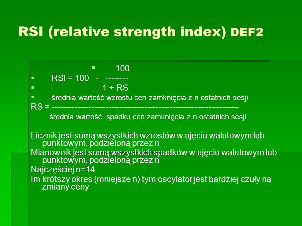 RSI (relative strength index) DEF2   100   RSI = 100 - --------   1 + RS   średnia wartość wzrostu cen zamknięcia z n ostatnich sesji RS = ---