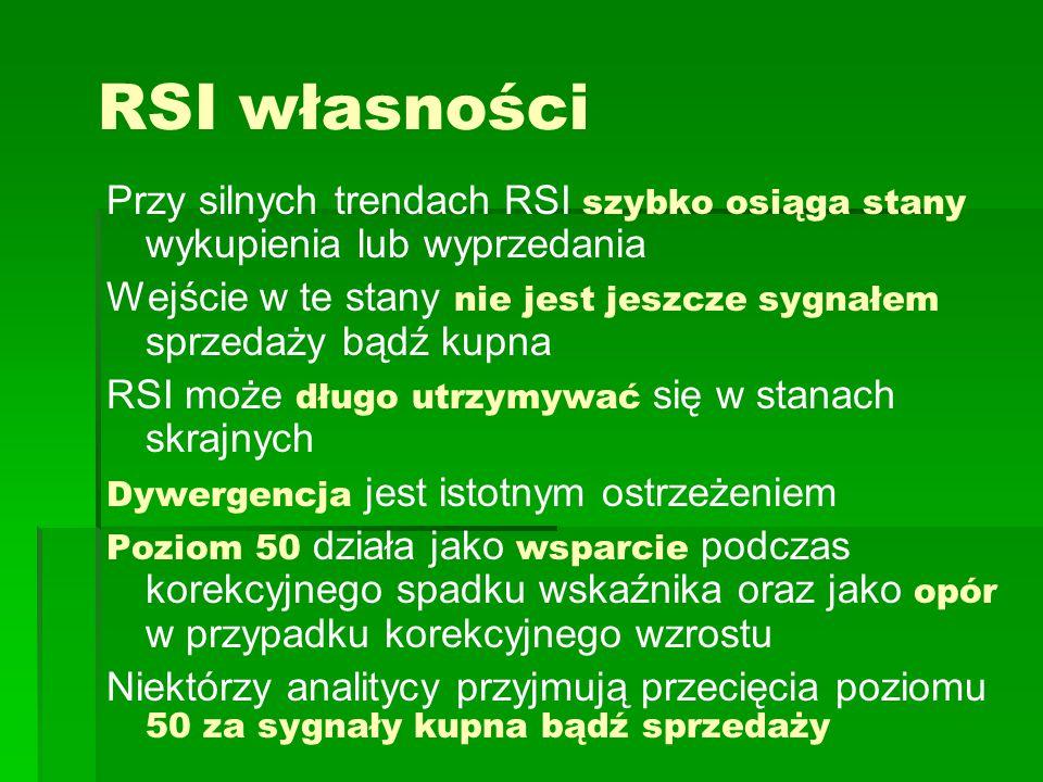 RSI własności Przy silnych trendach RSI szybko osiąga stany wykupienia lub wyprzedania Wejście w te stany nie jest jeszcze sygnałem sprzedaży bądź kup