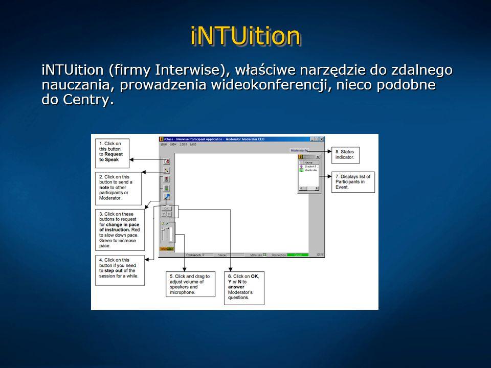 iNTUitioniNTUition iNTUition (firmy Interwise), właściwe narzędzie do zdalnego nauczania, prowadzenia wideokonferencji, nieco podobne do Centry.